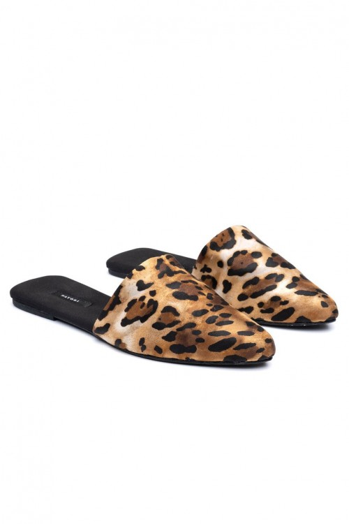 Modern Frosted Café Cheetah Mules