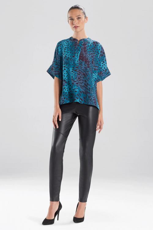 Cheetah Crepe T-Shirt Top in Meditteranean Blue