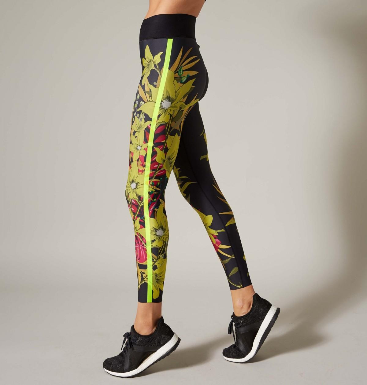 Lemon Print and Neon Green Bouquet Legging