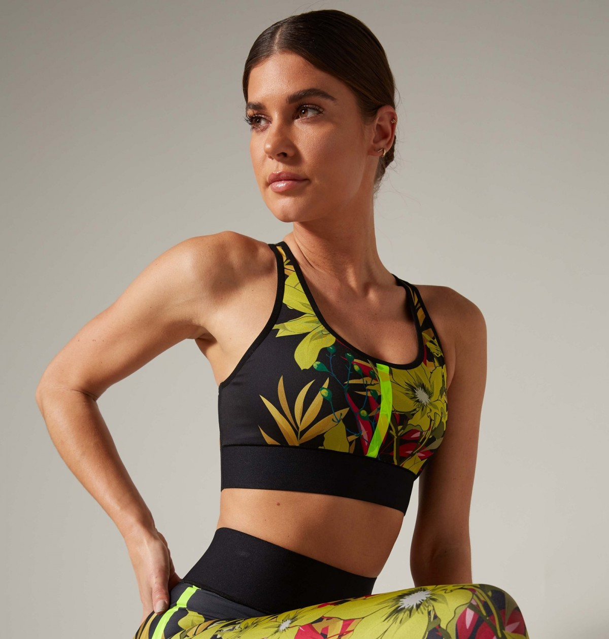 Bouquet Terrain Bra in Lemon Print and Neon Green