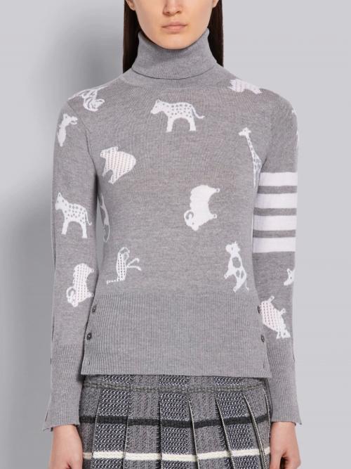 Light Grey Merino Wool Turtleneck Pullover
