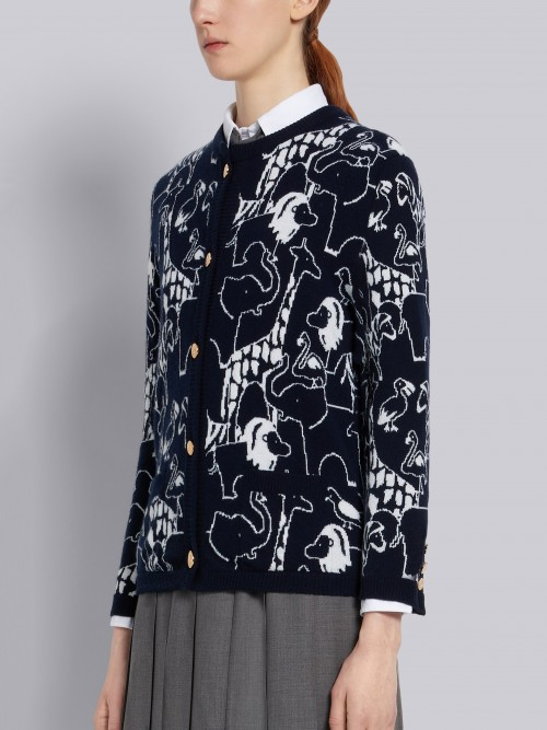 Navy Cashmere Cardigan with Animal Icon
