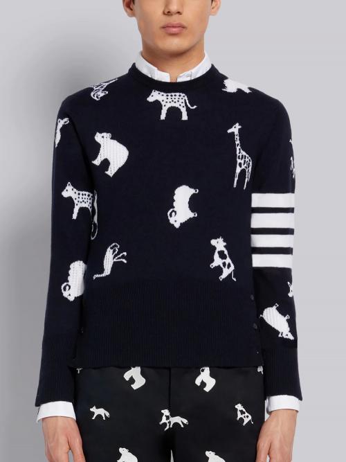 Luxurious Navy Crewneck Pullover