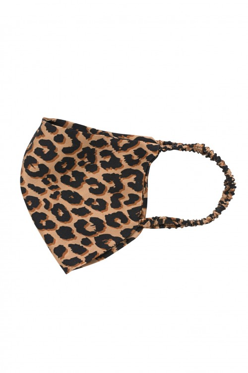 Silk Face Mask with Leopard Print