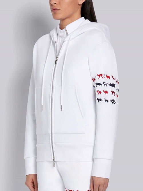 Graceful Zip-Up Hoodie in White