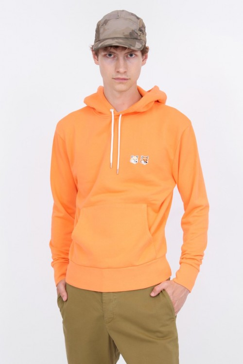 Orange Hoodie with Double Fox Head