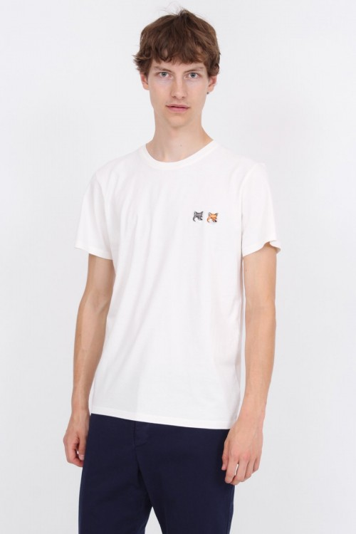 Ideal White T-Shirt with Double Fox Head Patch