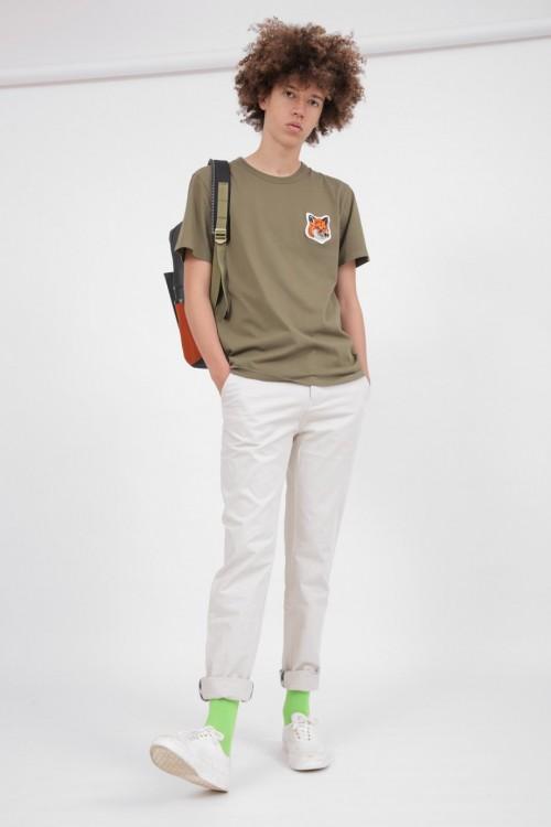 Superb Khaki T-Shirt with Double Fox Head Patch