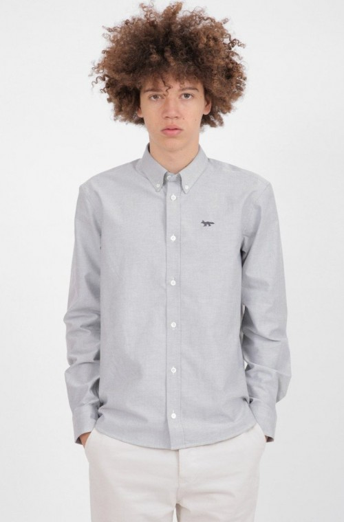 Classic Grey Shirt with Embroidered Fox
