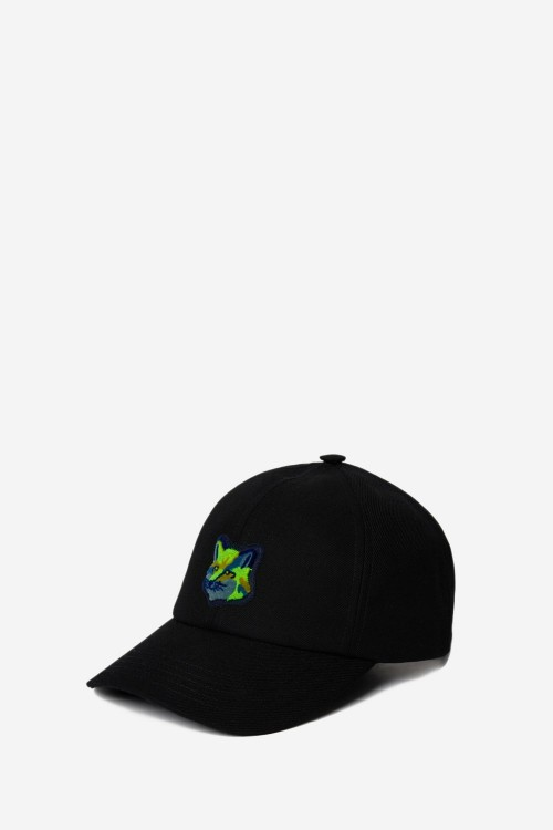 Stylish Black Cap with Neon Fox Head