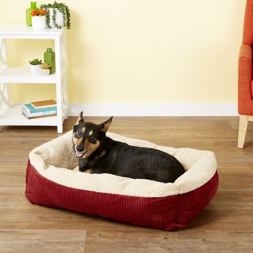 Cream and Red Warm Cat & Dog Bed