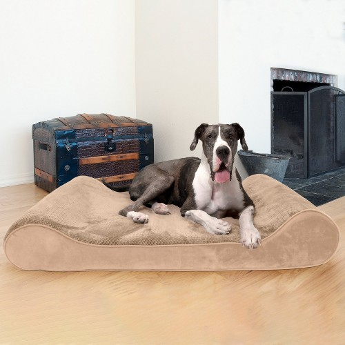 Pleasant Camel Orthopedic Cat & Dog Bed with Removable Cover