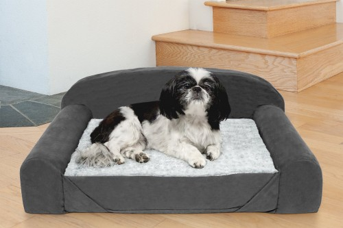 Stone Gray Orthopedic Cat & Dog Bed with Removable Cover