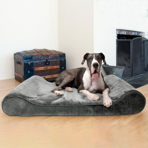 Soft Gray Orthopedic Cat & Dog Bed with Removable Cover