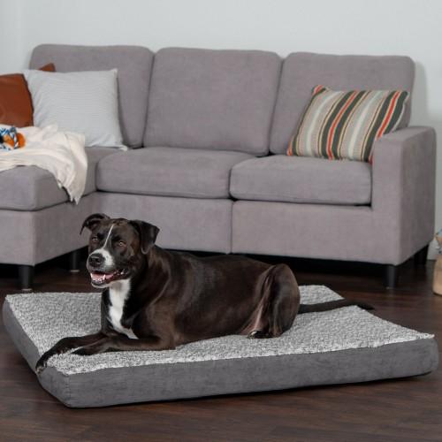 Stone Gray Mattress with Memory Foam Dog & Cat