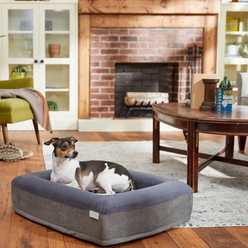 Gray Rectangular Orthopedic Cat & Dog Bed