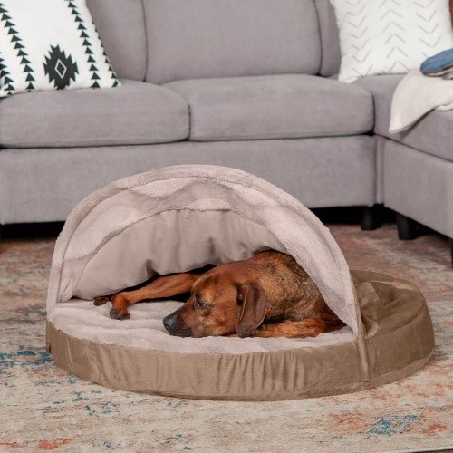 Dog & Cat Bed with Memory Foam in Brownstone