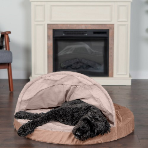Dog & Cat Bed with Cooling Gel in Brownstone