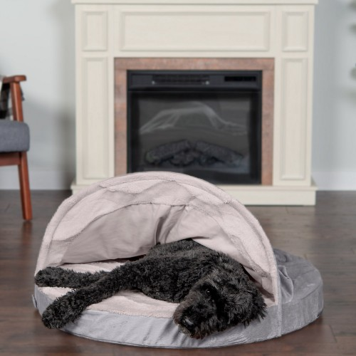 Dog & Cat Bed with Cooling Gel in Dark Gray