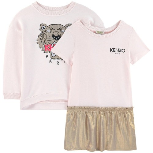 Fashionable Pink Dress and Sweatshirt