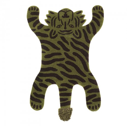 Playful Green Tiger Rug