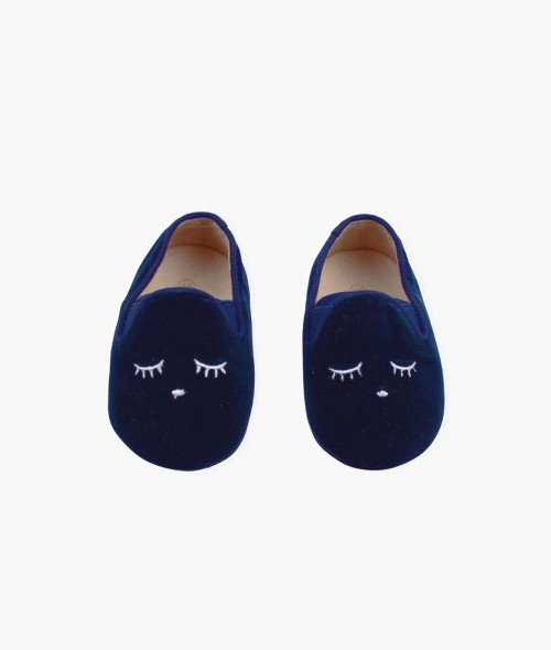 Velvet and Leather Navy Loafers