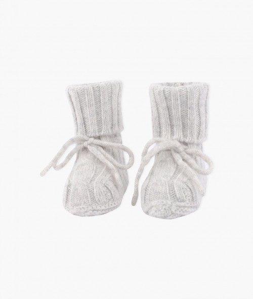 Soft Cable Knit Cashmere Booties in Grey