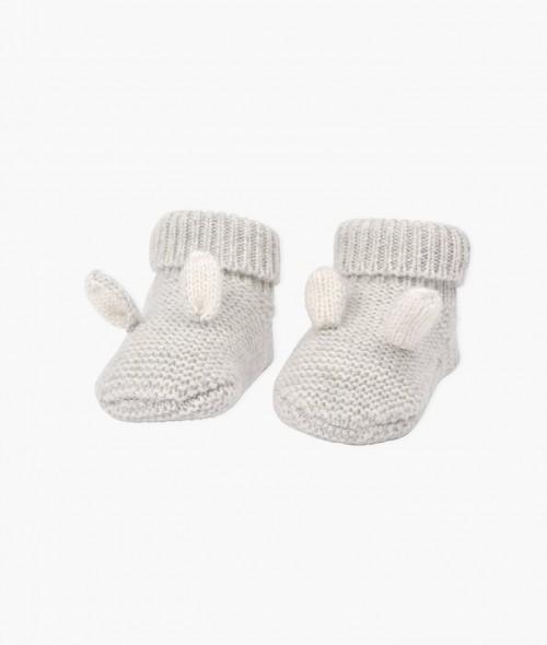 Adorable Light Grey Cashmere Bunny Footies