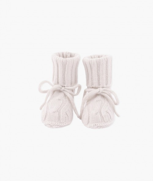 Comfy Cable Knit Cashmere Booties in Pink
