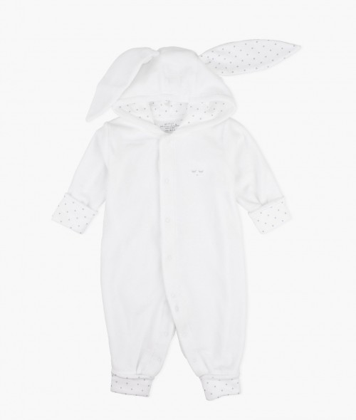 Plush Bunny Overall in Silver White