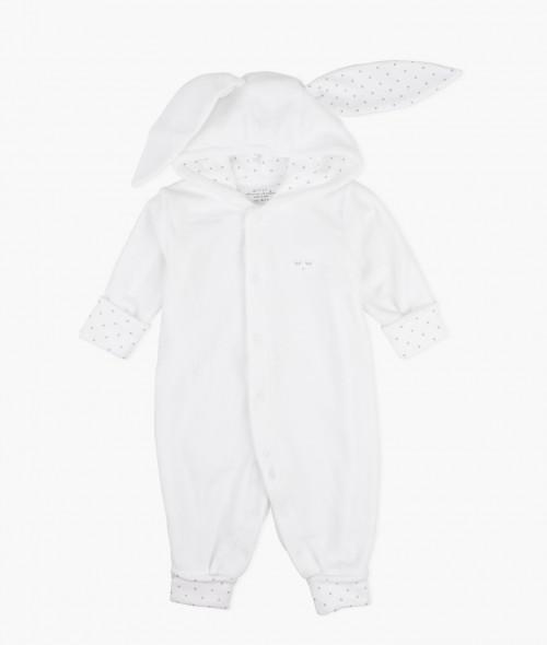 Plush Bunny Overall in Silver White