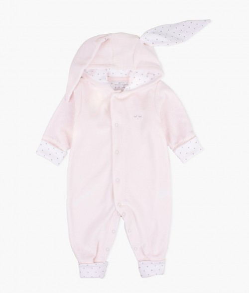 Plush Bunny Overall in Silver Pink
