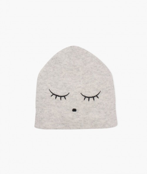 Gray Hat Embroidered with Sleeping Cutie Design