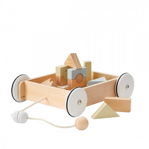 Kids Wooden Wagon With Blocks
