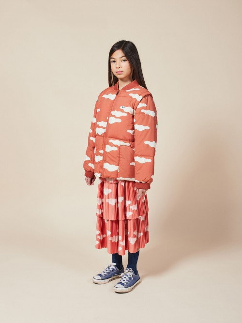 Padded Outwear Jacket with Clouds Print