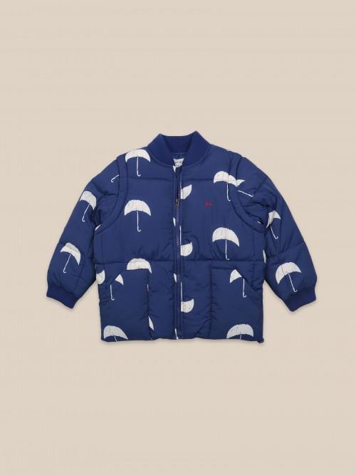 Navy Padded Jacket with Umbrella Print