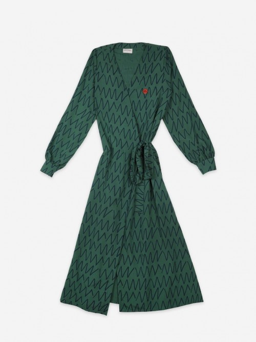 Green Wrap Long Dress
