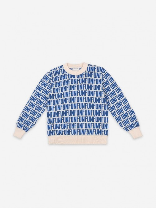 Long Sleeve Jumper with Blue Print
