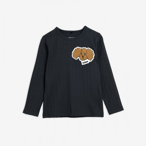 Black Shirt with Fluffy Dog Patch