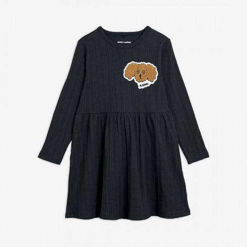 Black Dress with Fluffy Dog Patch