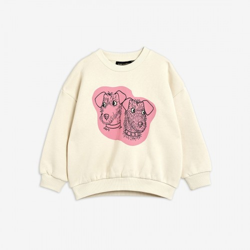 Off White Sweatshirt Pink Terrier Print