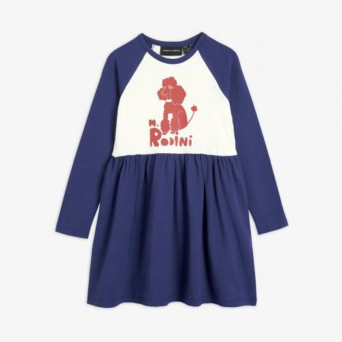 Navy Poodle Long Sleeve Dress