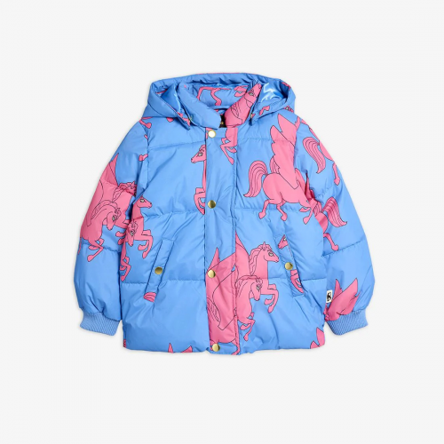 Blue Puffer Jacket with Pegasus Print