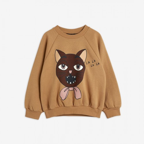 Beige Sweatshirt with Large Cat Print