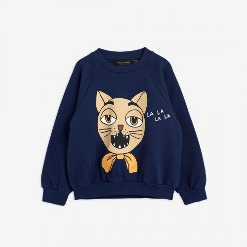Navy Sweatshirt with Large Cat Print