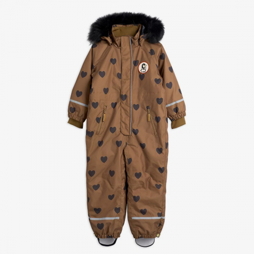 Brown Hearts-Printed Padded Winter Overall