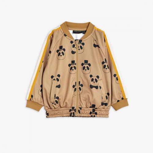 Beige Tracksuit Jacket with Panda Print