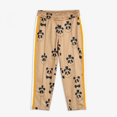 Beige Tracksuit Trousers with Panda Print