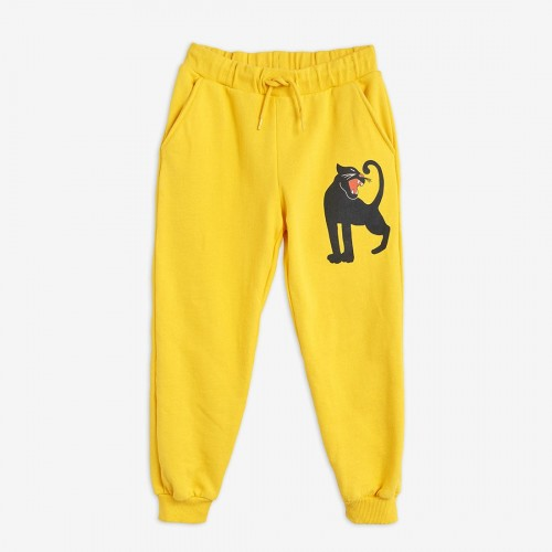 Yellow Sweatpants with a Panther Print