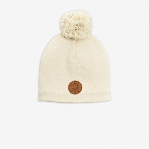 Off White Knitted Hat in Double Layers